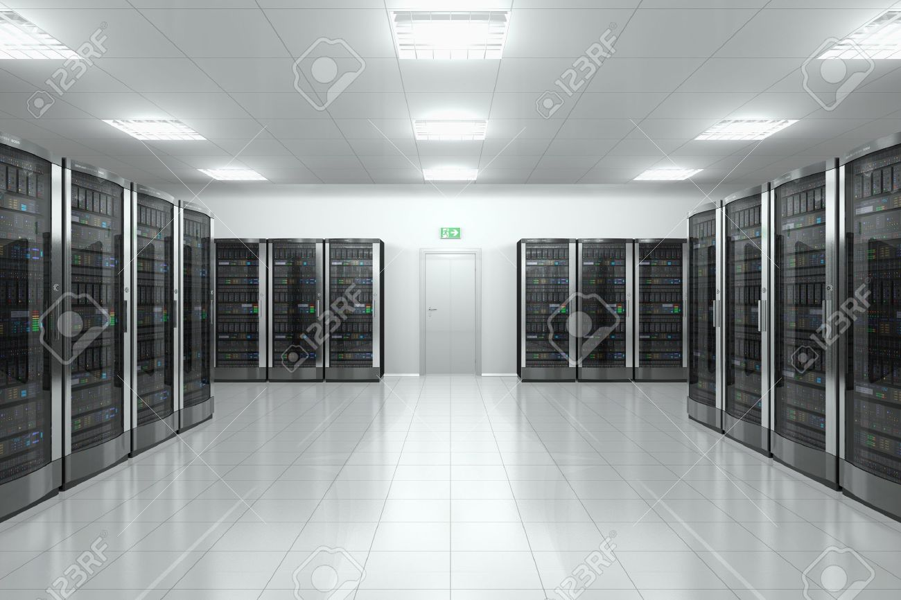 Modern Network And Communication Concept: Server Room In Datacenter ...