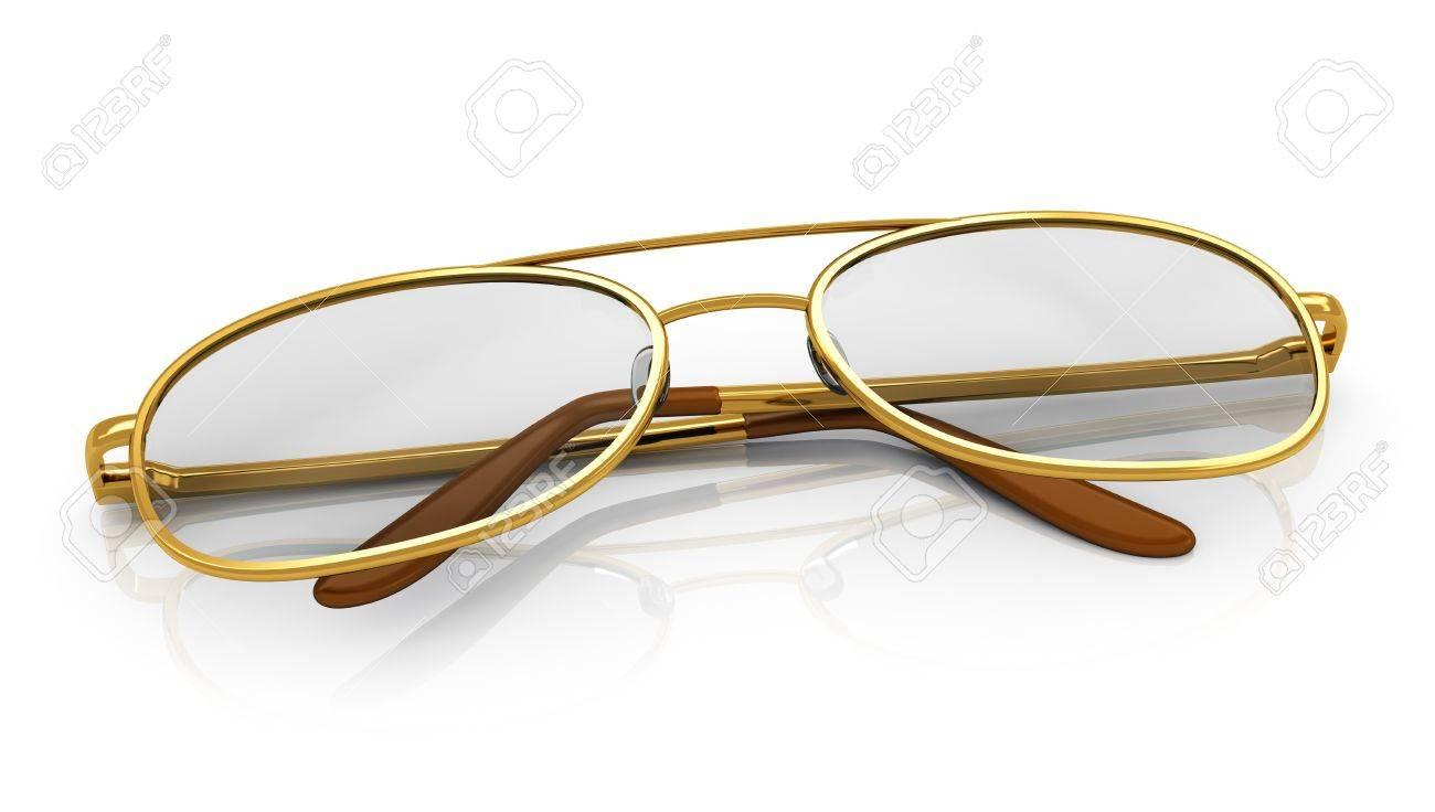 Golden eyeglasses isolated on white background with reflection effect Stock Photo - 18269985