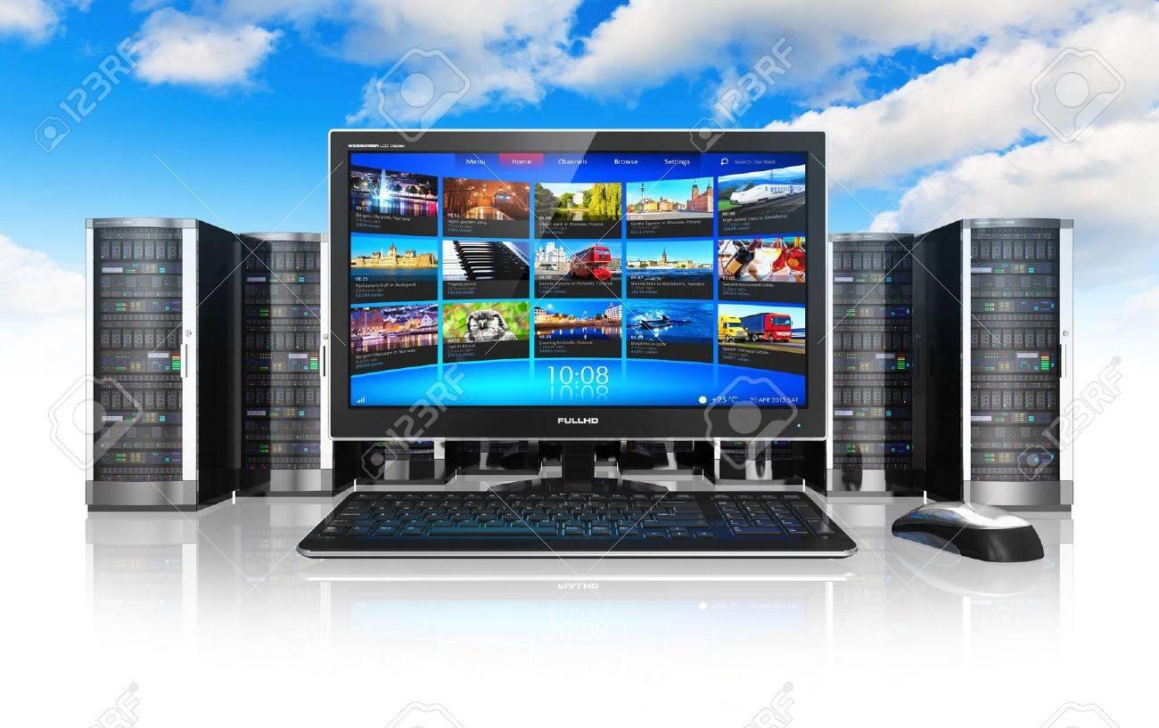 Cloud computing et des télécommunications concept de lordinateur de