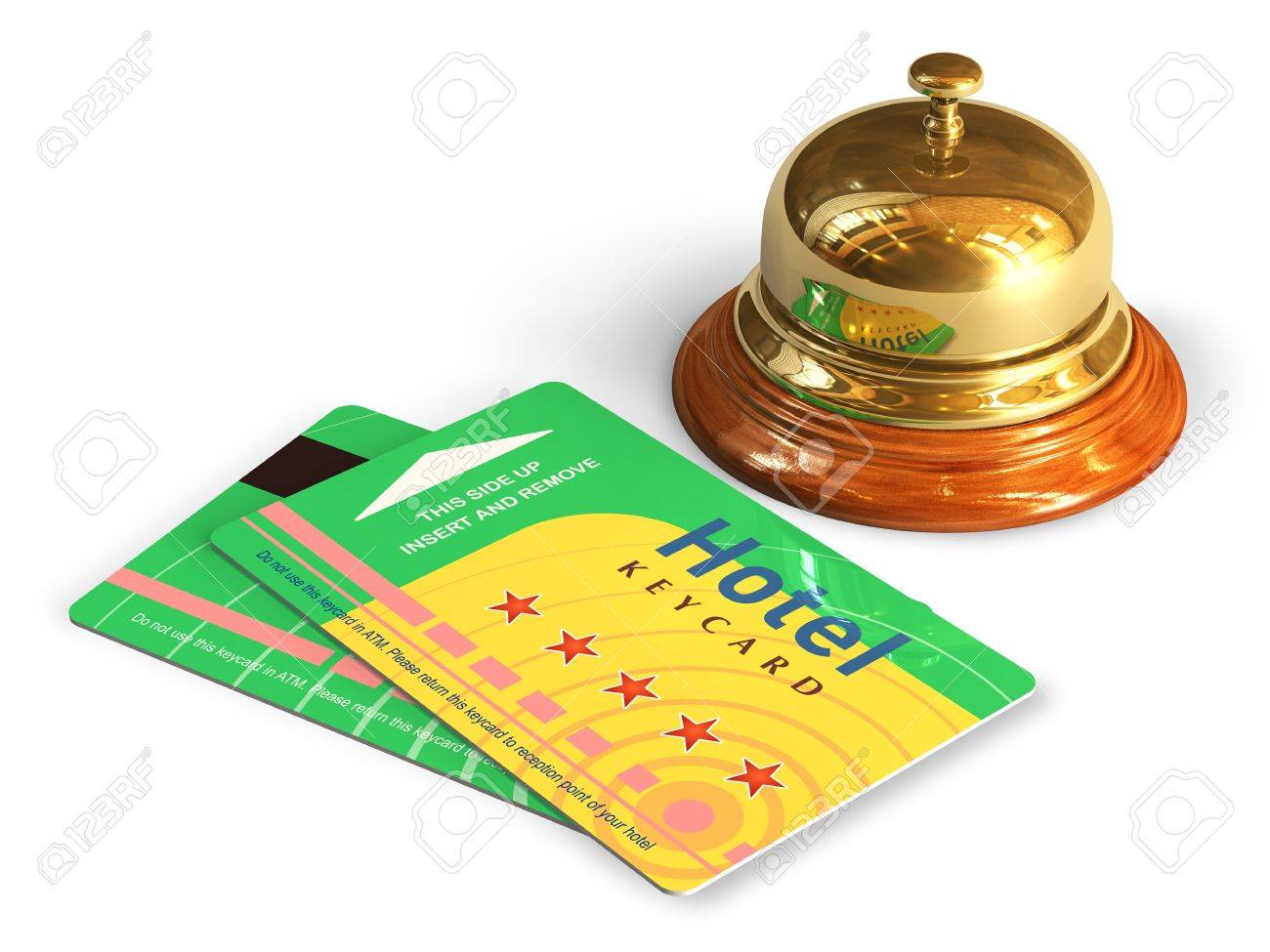 Travel and tourism concept  golden reception bell and group of color hotel keycards or cardkeys isolated on white background Stock Photo - 19527926