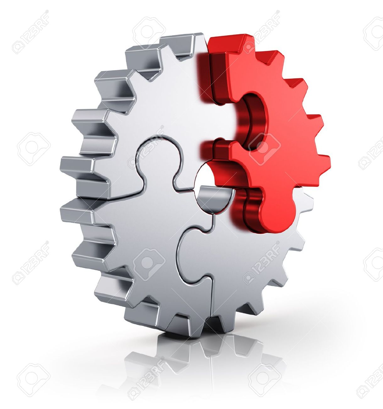 Business creativity, teamwork, partnership and success concept  metal gear from puzzle pieces isolated on white background with reflection effect Stock Photo - 20295255