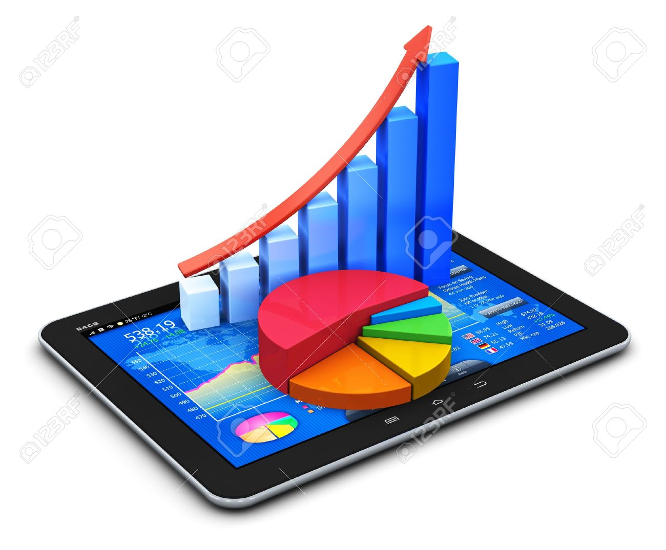 Mobile office stock exchange market trading statistics accounting and banking business concept modern touchscreen tablet computer pc with stock market application software interface growth bar chart and pie diagram ccuart Image collections