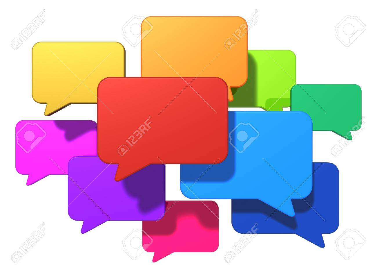 Creative social networking media, web chat, online messaging and internet communication concept group of glossy colorful speech bubbles or balloons isolated on white background - 20664289