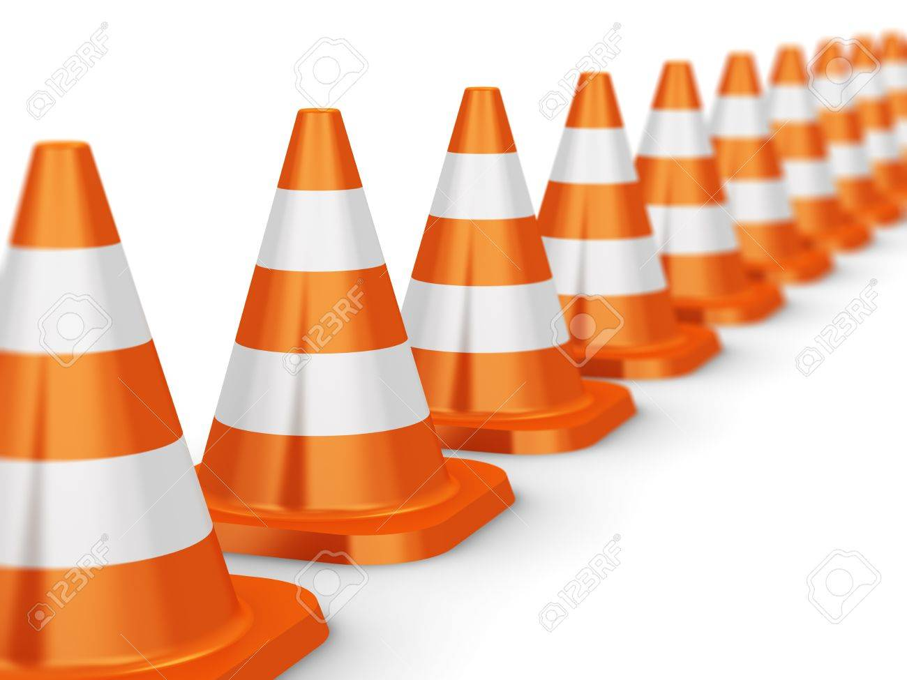 Row of orange traffic cones isolated on white background with selective focus effect Stock Photo - 21702993
