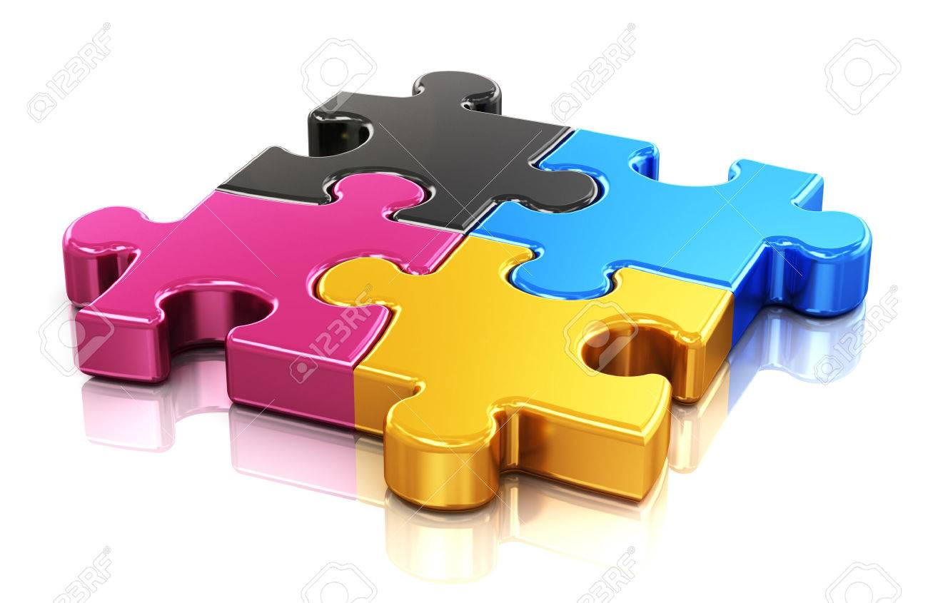 Creative color printing computer technology, typography, press and publishing abstract concept  colorful CMYK puzzle jigsaw pieces Stock Photo - 22416647