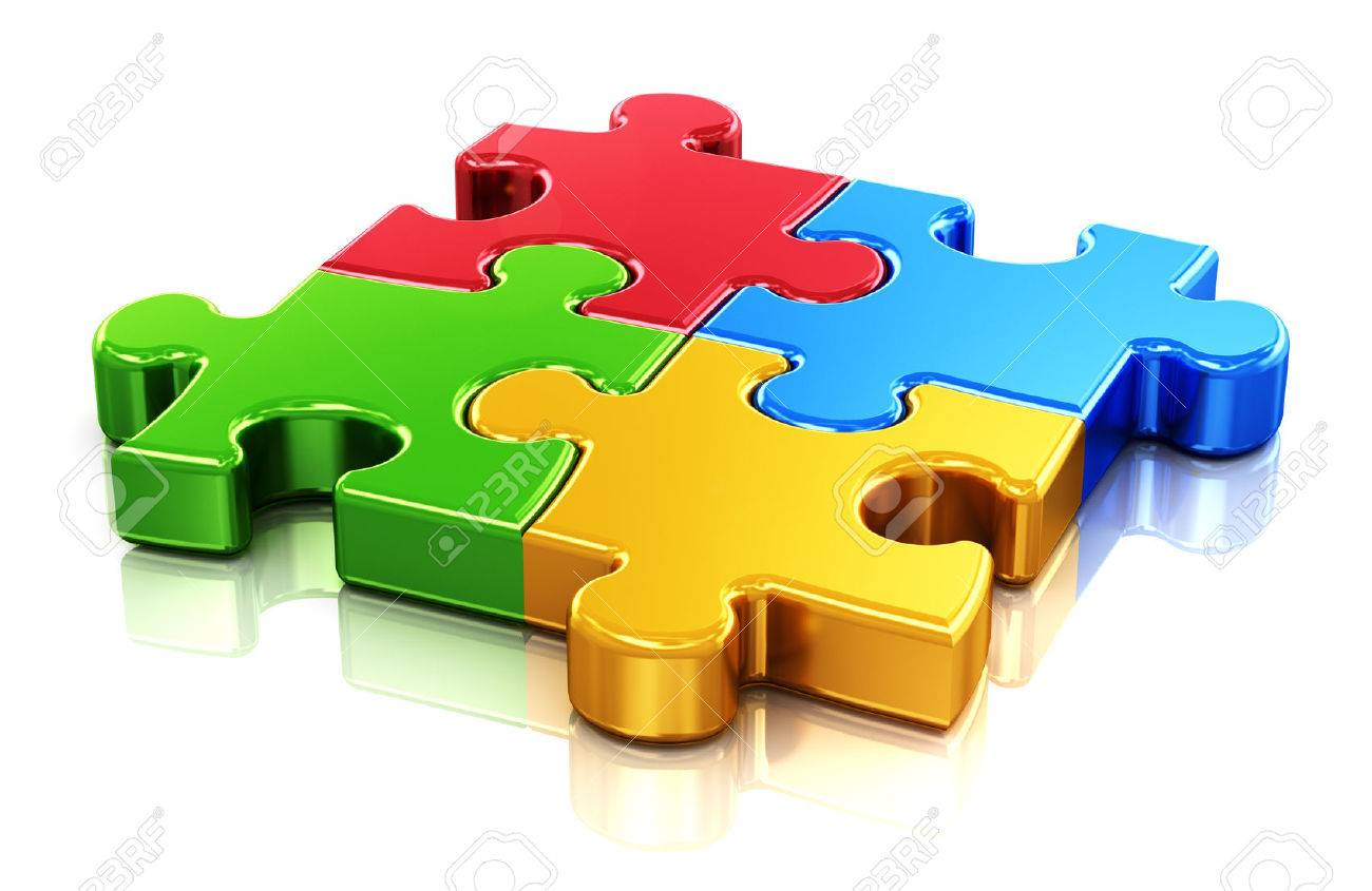 Creative business, office, teamwork, partnership and communication corporate concept   four color red, blue, green and yellow puzzle jigsaw pieces isolated on white with reflection effect Stock Photo - 22571540