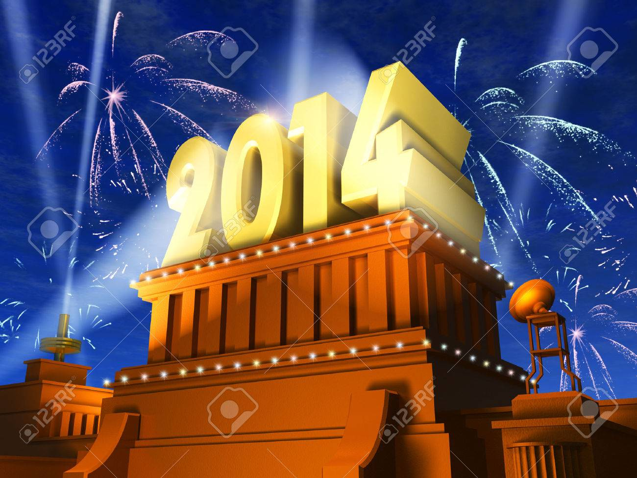 Creative New Year 2014 celebration concept  shiny golden 2014 text on pedestal at night with fireworks in cinema style Stock Photo - 23094718