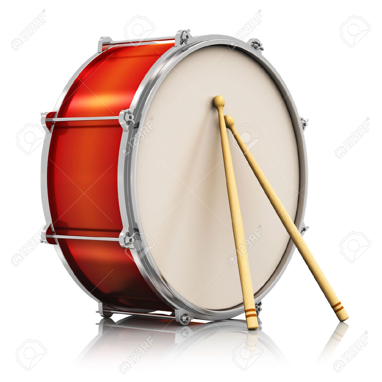 Creative abstract musical instrument concept  red drum with pair of drumsticks isolated on white background with reflection effect Stock Photo - 23095443