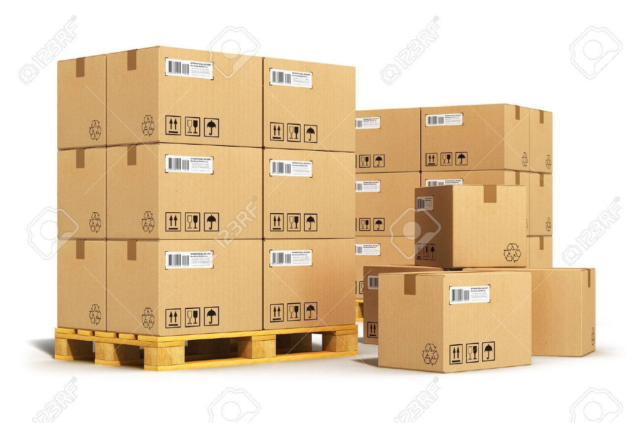 Creative Abstract Cargo, Delivery And Transportation Logistics Storage  Warehouse Industry Business Concept Stock Photo