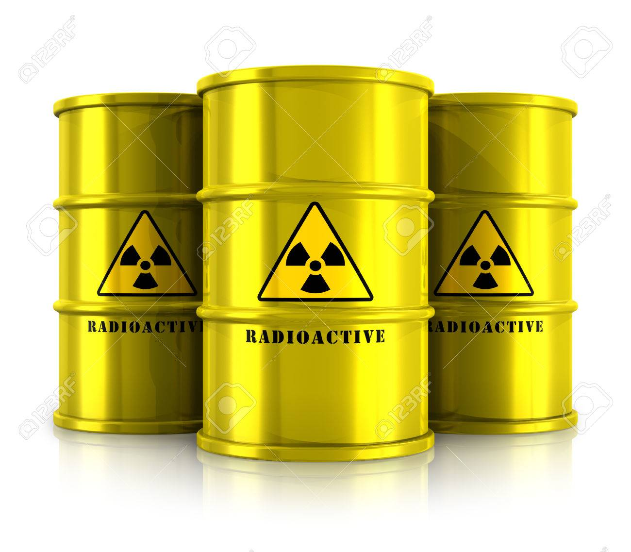 Creative abstract nuclear power fuel manufacturing, disposal and utilization industry concept  group of yellow metal barrels, drums or containers with poison dangerous hazardous radioactive materials isolated on white background with reflection effect Stock Photo - 23499540