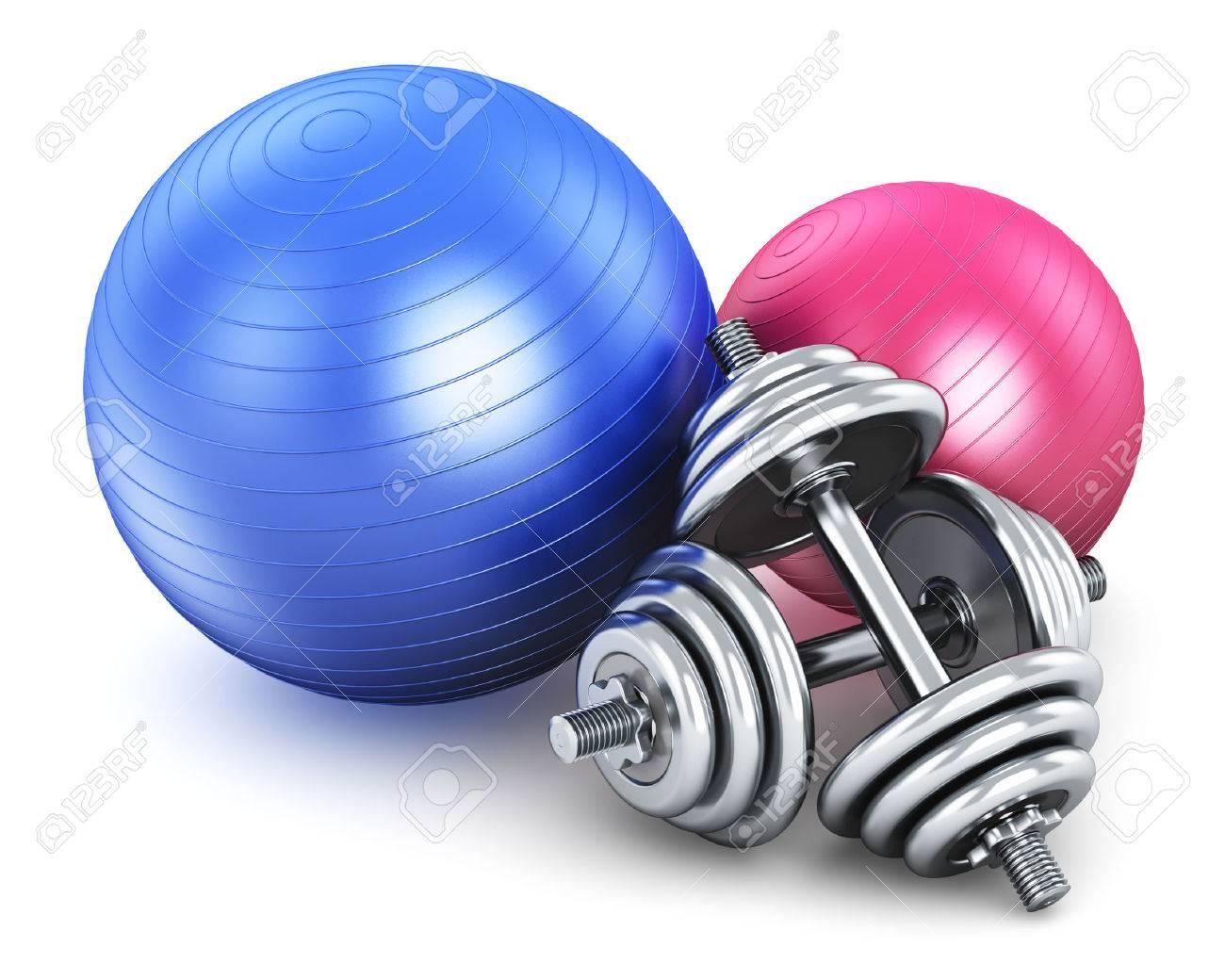 fitness ballen en een paar glanzende metalen halters ge�soleerd op witte achtergrondFitness Ballen #19