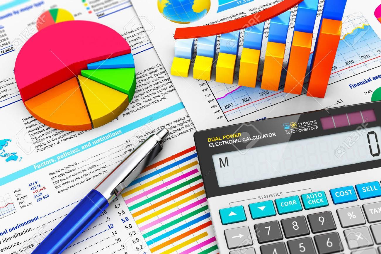 Macro view of office electronic calculator bar graph charts macro view of office electronic calculator bar graph charts pie diagram and ballpoint pen ccuart Gallery