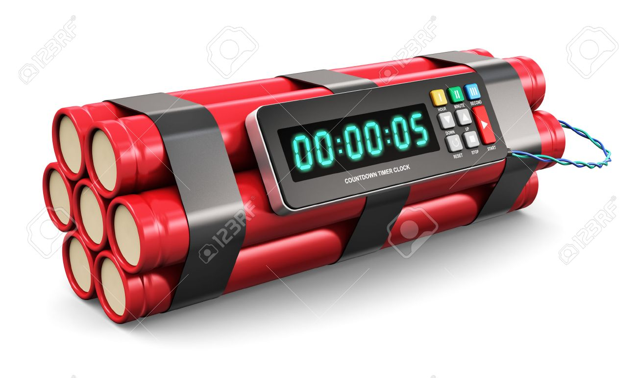 tnt time bomb explosive with digital countdown timer clock isolated