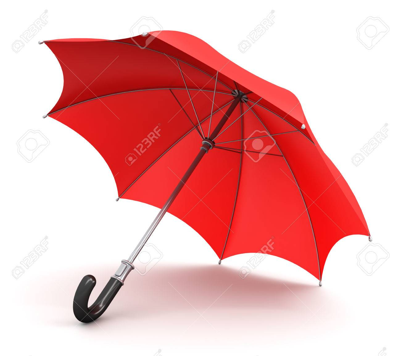 Red Umbrella Or Parasol With Black Handle Isolated On White