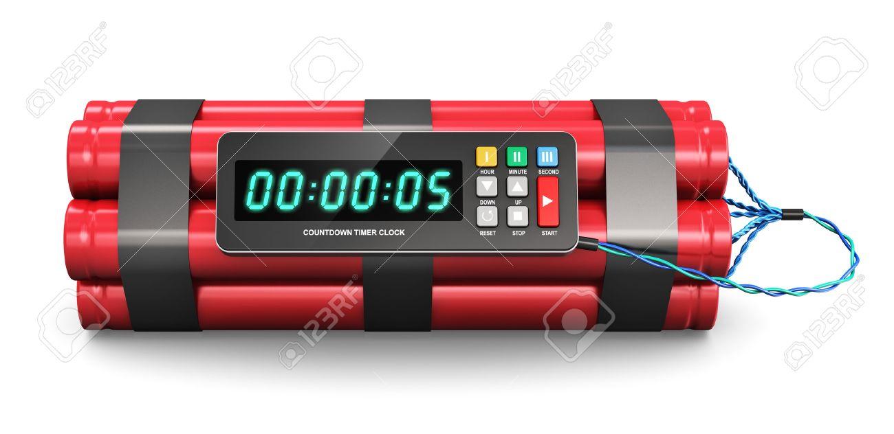 be09fb768ae1 Foto de archivo - Tiempo de explosivo TNT bomba con reloj temporizador de  cuenta atrás digital aisladas sobre fondo blanco