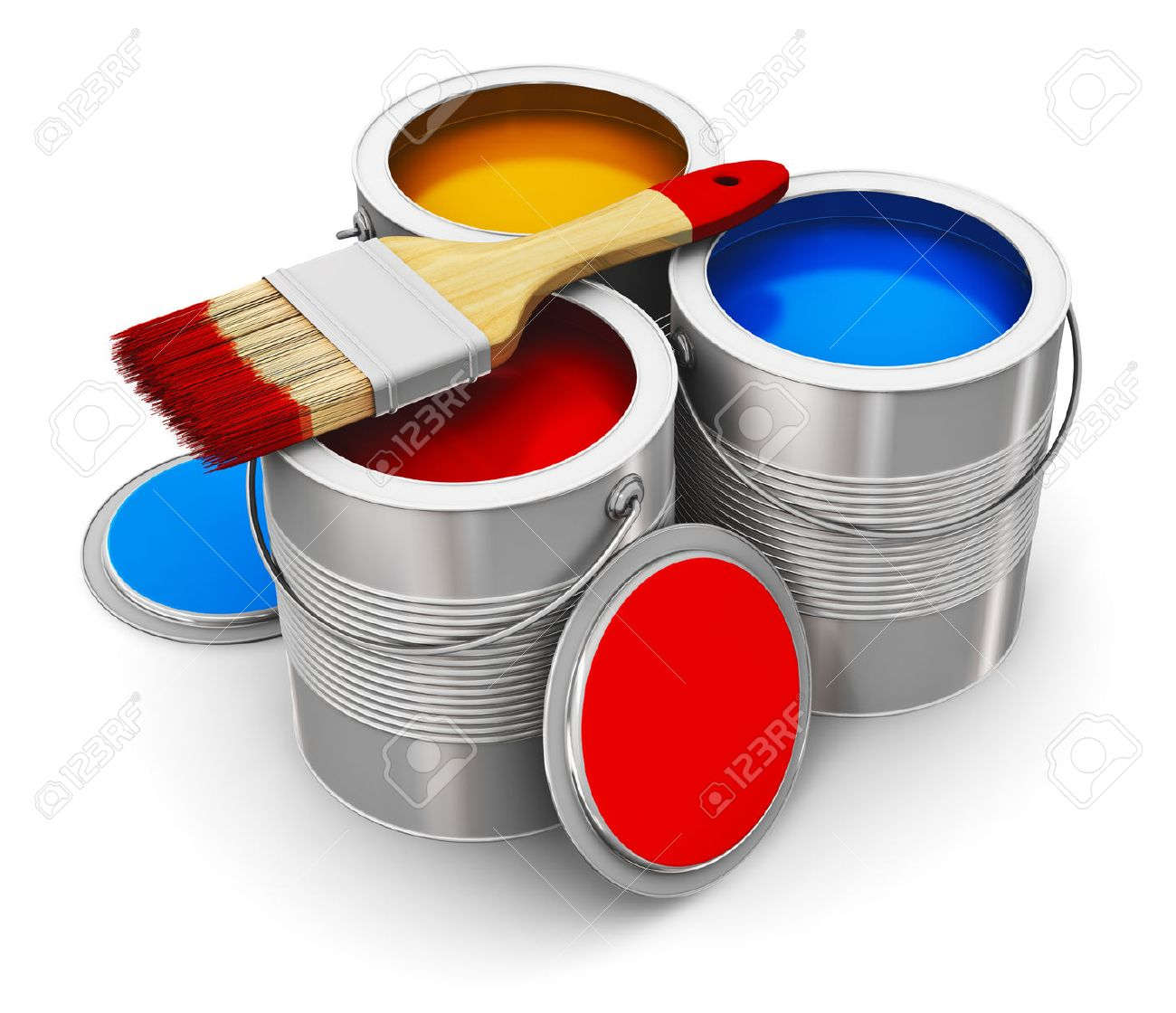 Metal Tin Cans With Color Paint And Paintbrush Isolated On White ...