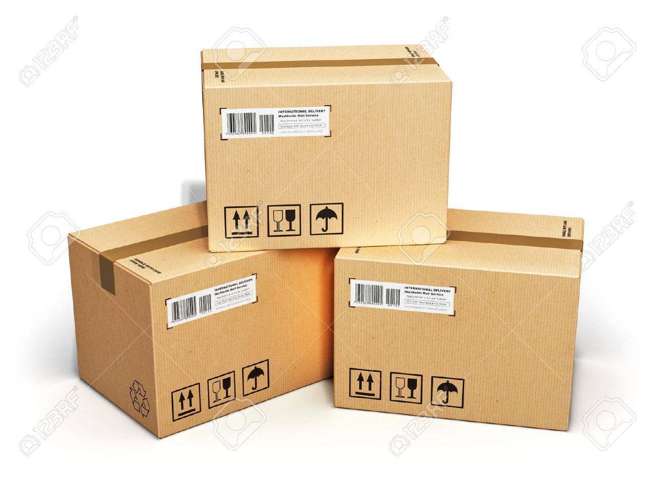Shipping logistics and retail goods delivery business concept shipping logistics and retail goods delivery business concept stack of corrugated cardboard box packages isolated reheart Image collections