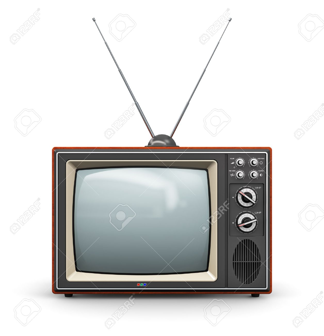 Creative abstract communication media and television business concept old retro color wooden home TV receiver set with antenna isolated on white background - 27472342