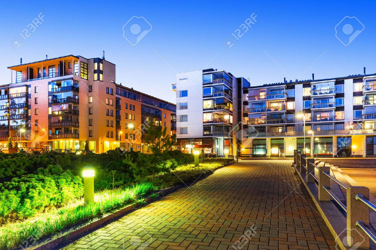 House building and city construction concept evening outdoor urban view of modern real estate homes - 29302153