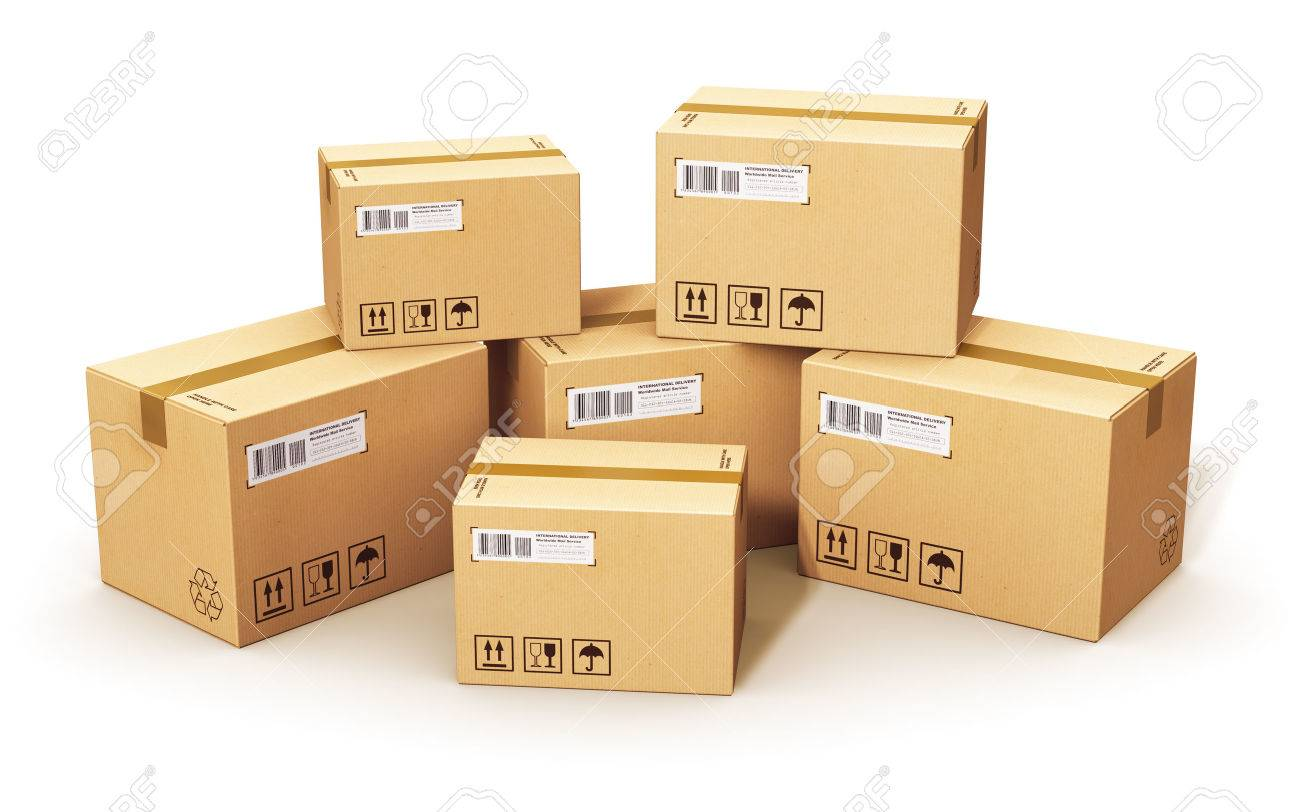 stack of corrugated cardboard box packages isolated on white stock photo stack of corrugated cardboard box packages isolated on white background
