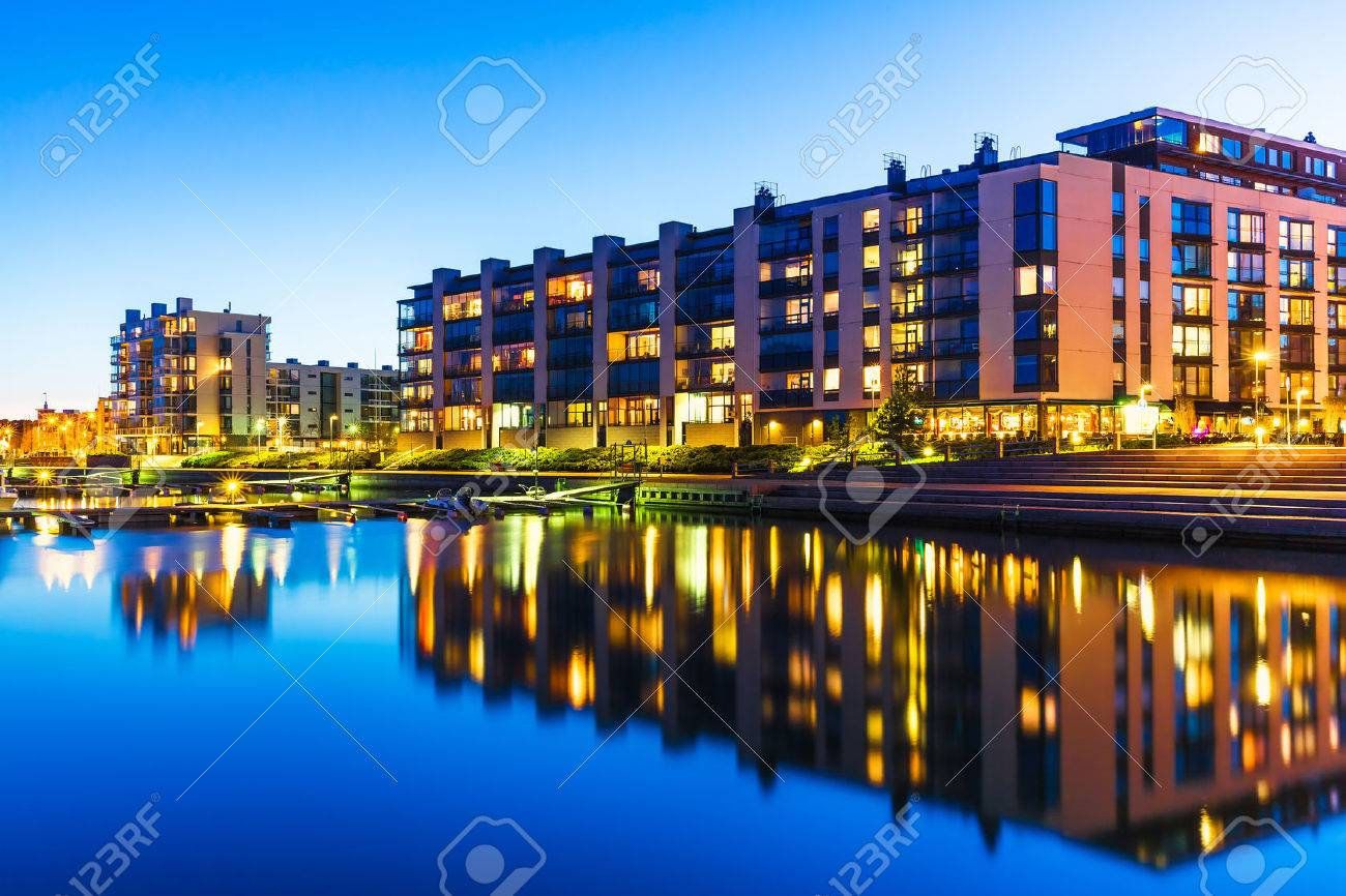 House building and city construction concept evening outdoor urban view of modern real estate homes - 30137586