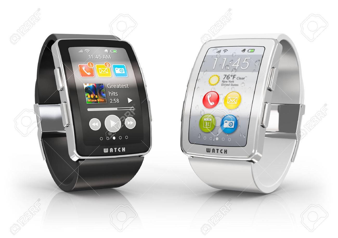 gran selección de 18ae4 d88e7 Movilidad empresarial creativo y moderno concepto de tecnología dispositivo  portátil móvil dos relojes digitales a color inteligentes o relojes con ...