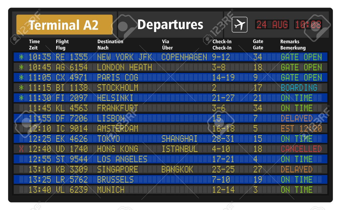illustration of airport departure board with timetable of airliner flights - 30118456