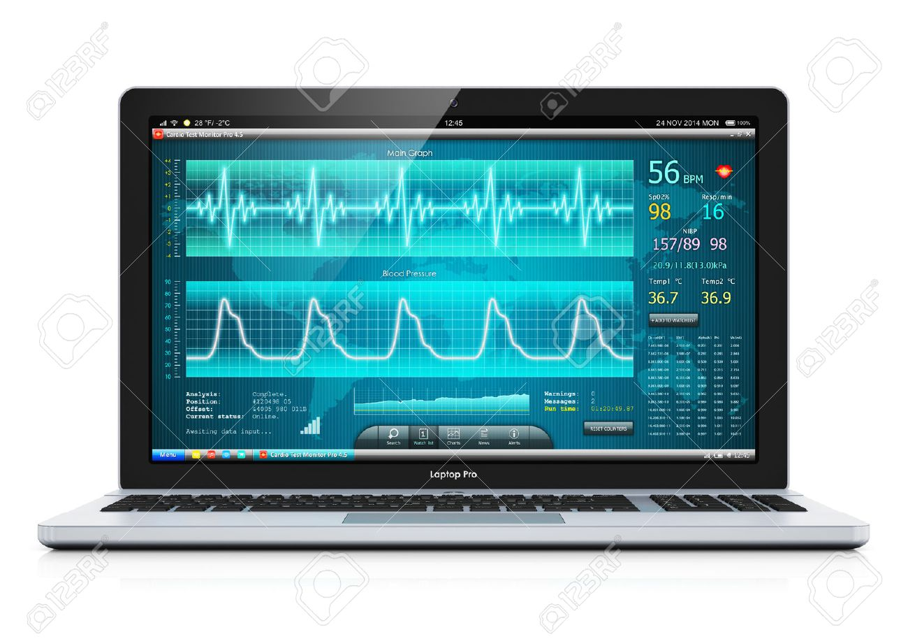 Laptop Or Notebook Computer Pc With Medical Cardiologic Diagnostic Stock Photo Picture And Royalty Free Image Image 36489712