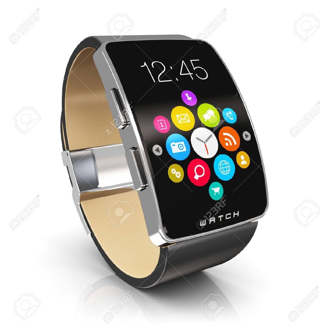 diseño atemporal cb1ca 01efb Movilidad creativa de negocios abstracto y moderno concepto de tecnología  dispositivo portátil móvil: reloj inteligente digital o reloj con interfaz  ...