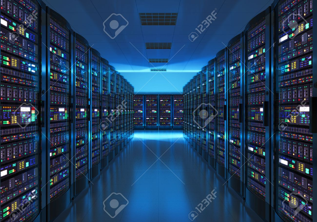 Modern web network and internet telecommunication technology, big data storage and cloud computing computer service business concept: server room interior in datacenter in blue light Stock Photo - 43578010