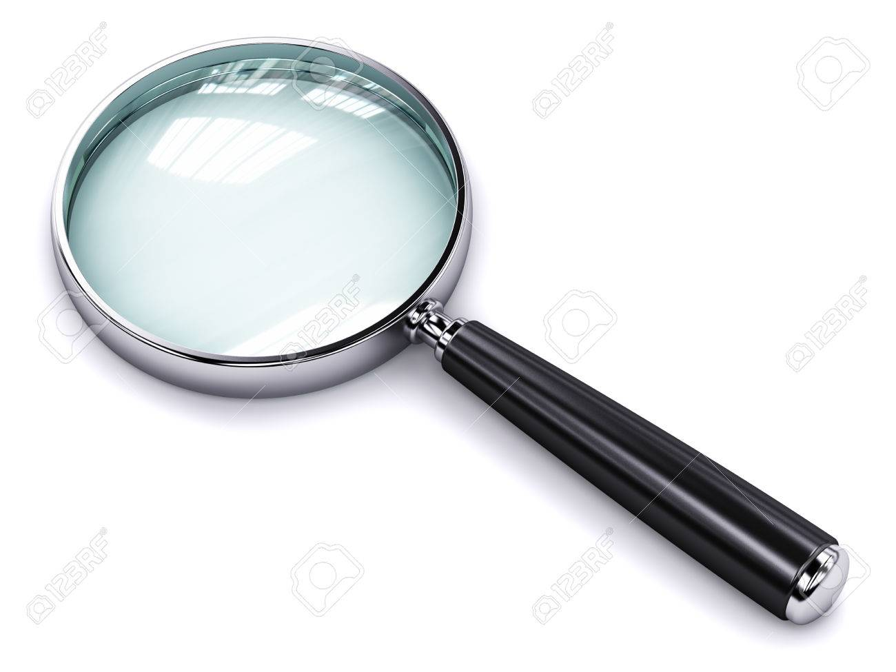 Creative abstract search, seek and find information business office technology internet concept: metal shiny magnifying glass or magnifier isolated on white background - 50999639