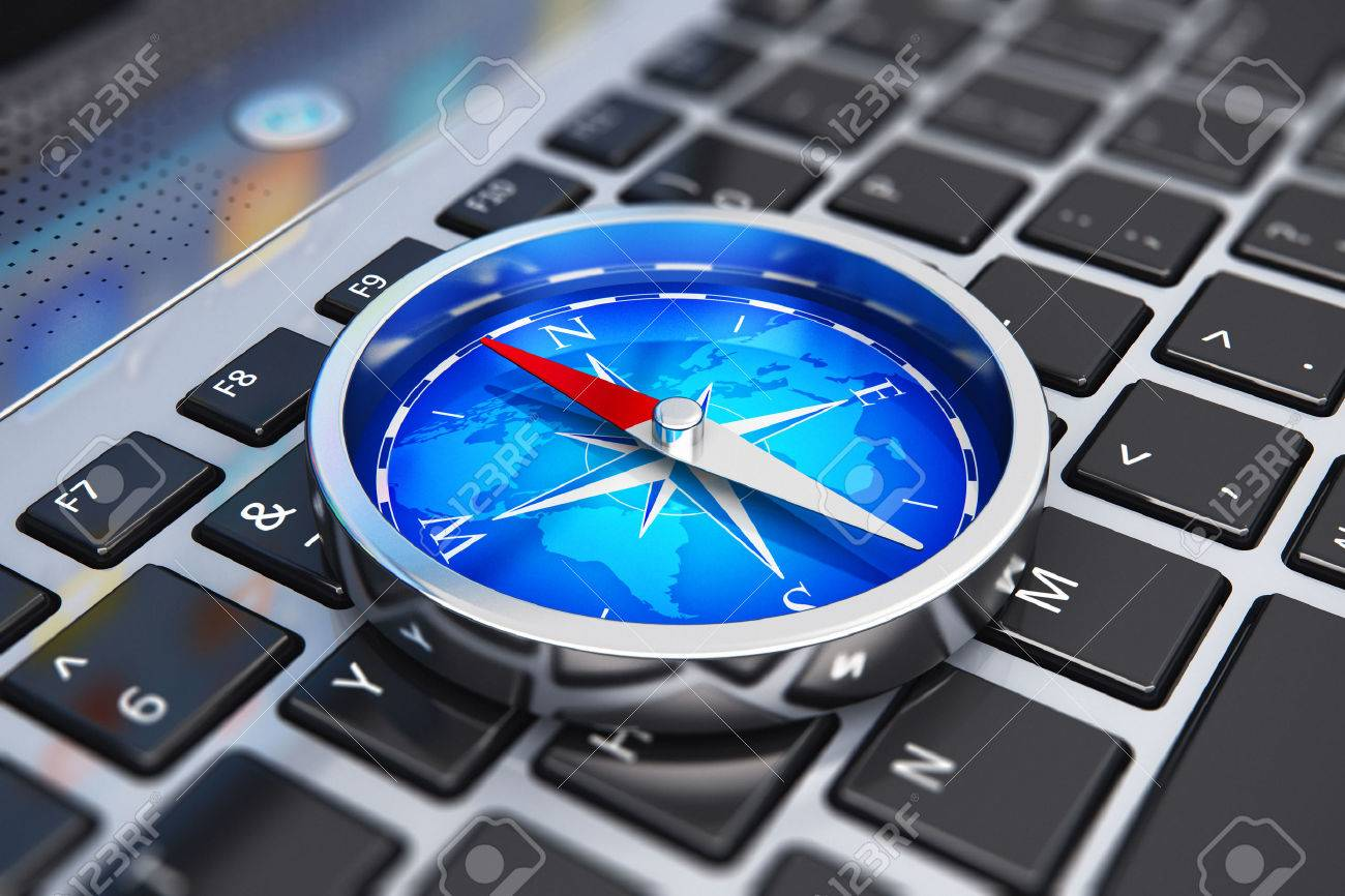 Creative abstract global web communication, wireless GPS navigation internet technology and success in business concept: macro view of shiny metal magnetic compass with red arrow and blue world map on laptop or notebook computer PC keyboard with selective - 51752601