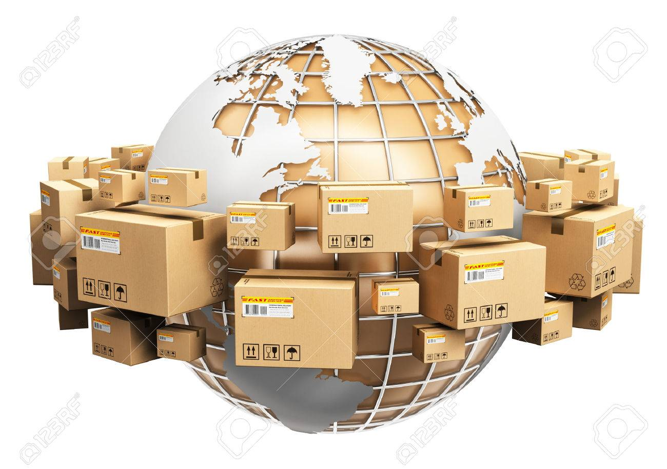 Creative abstract global logistics, shipping and worldwide delivery business concept: Earth planet globe surrounded by heap of stacked corrugated cardboard boxes with parcel goods isolated on white background - 53455696