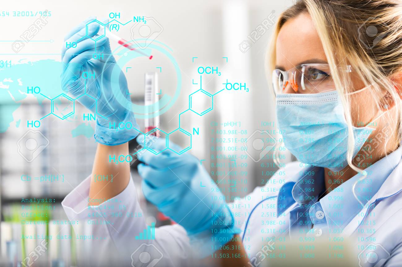 Young attractive female scientist researching in the laboratory with futuristic scientific air interface with chemical formulas and research data in the foreground - 93330055