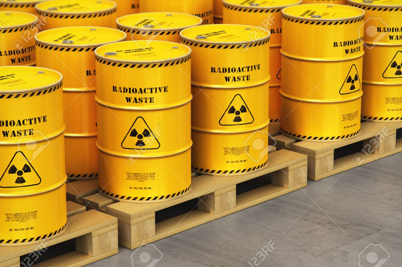 Creative abstract nuclear power fuel manufacturing, disposal and utilization industry concept: 3D render illustration of the group of yellow metal barrels, drums or containers with poison dangerous hazardous radioactive materials on wooden shipping pallets in the industrial storage warehouse with selective focus effect - 102436453