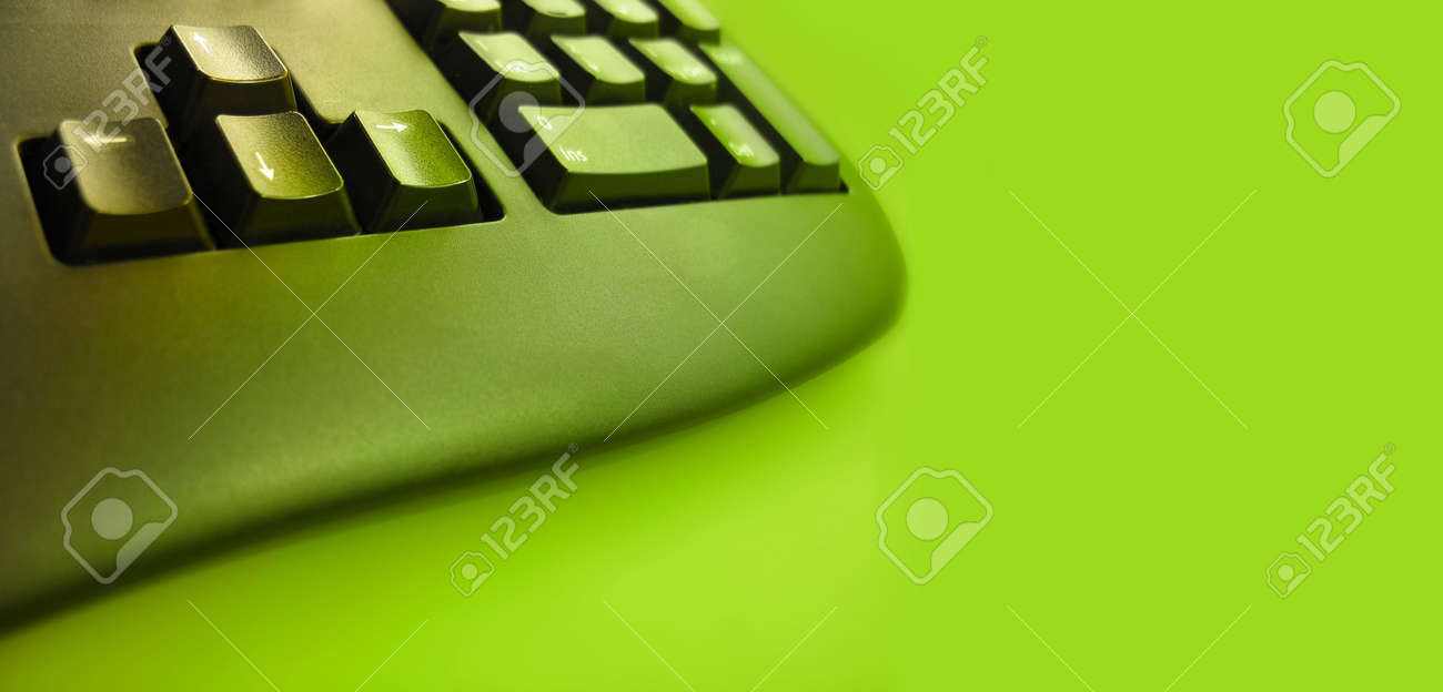 keyboard with green tones - room for text Stock Photo - 230806