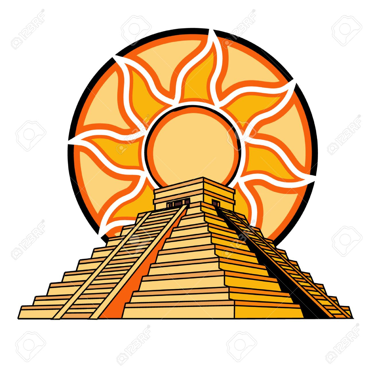 mayan or aztec temple with sun fire background royalty free cliparts rh 123rf com Mexican Fiesta Clip Art Mexican Vector Free Graphics