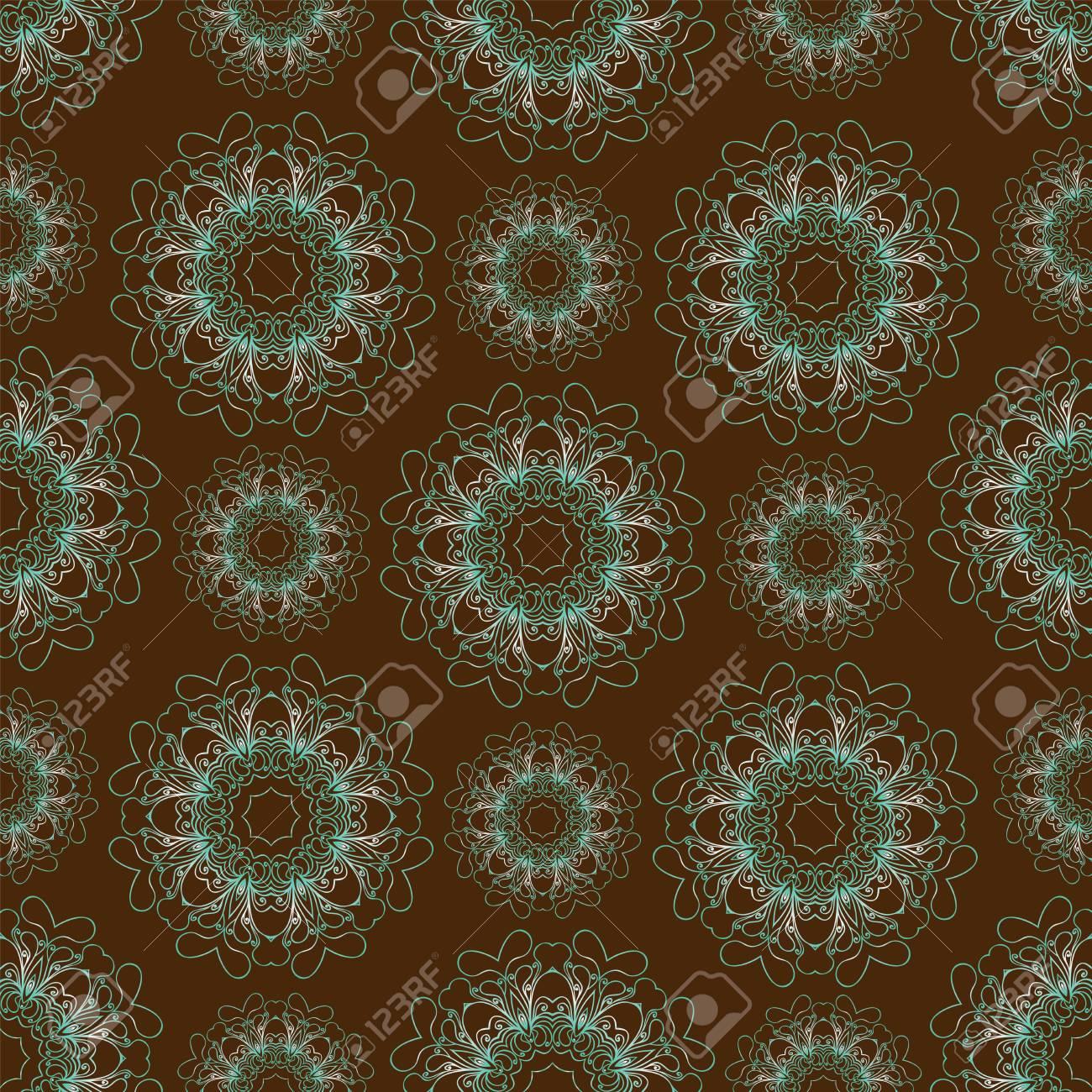 Sin Patrón, Con Mandalas Azules Ilustraciones Vectoriales, Clip Art ...
