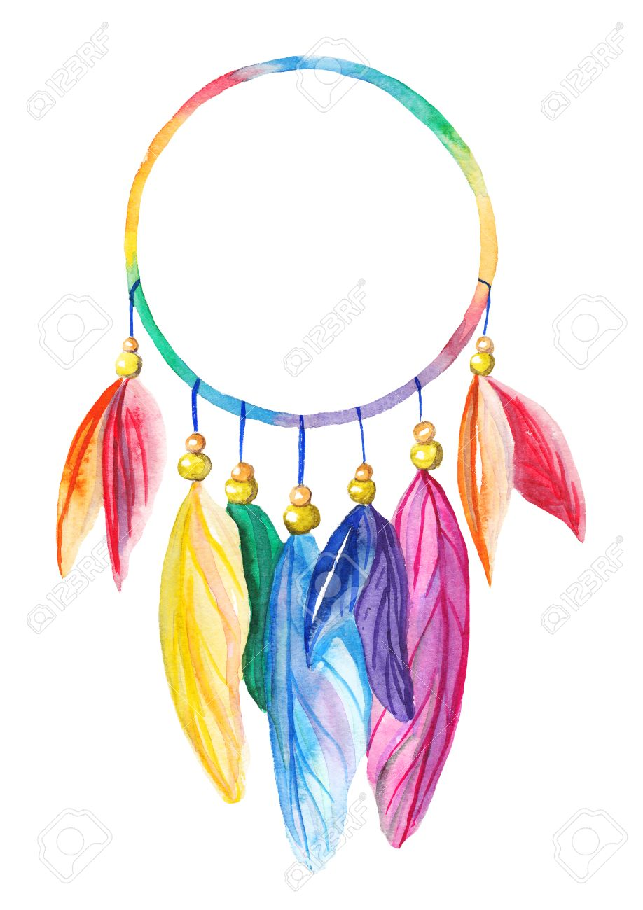 Rainbow watercolor dreamcatcher on white isolated background Stock Photo - 53600324