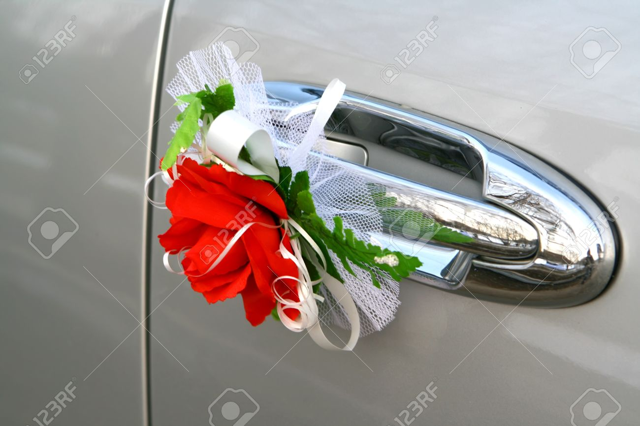 Wedding Car Decoration Red Rose Stock Photo Picture And Royalty