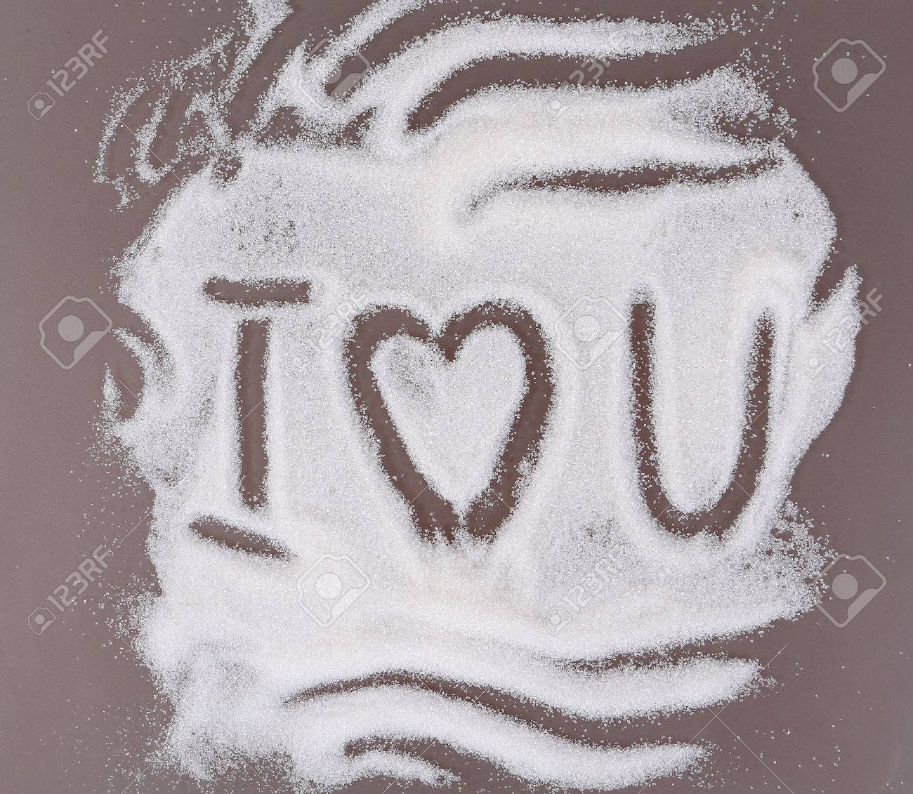 Declaration Of Love Written On The Sugar Scattered On A Kitchen ...