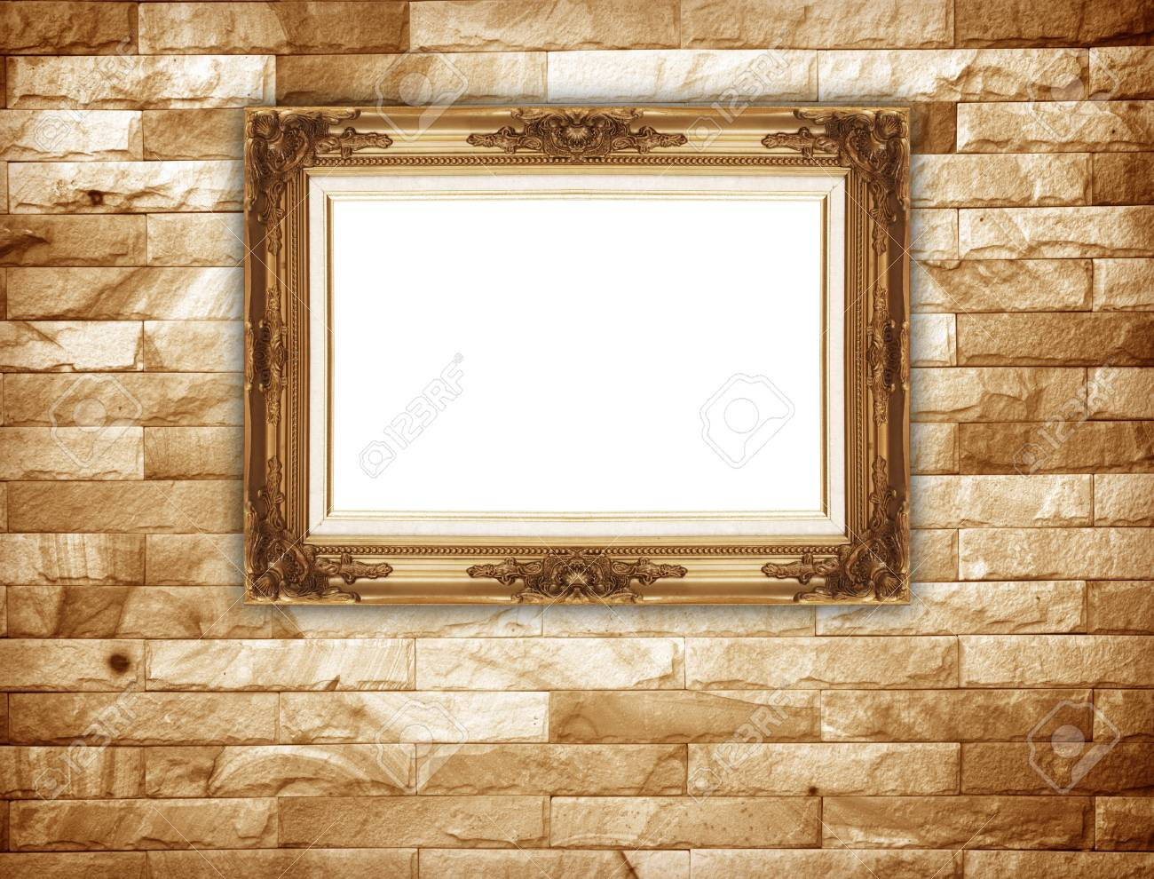 Background Of Stone Wall Decorative Stone With Gold Frame. Stock ...