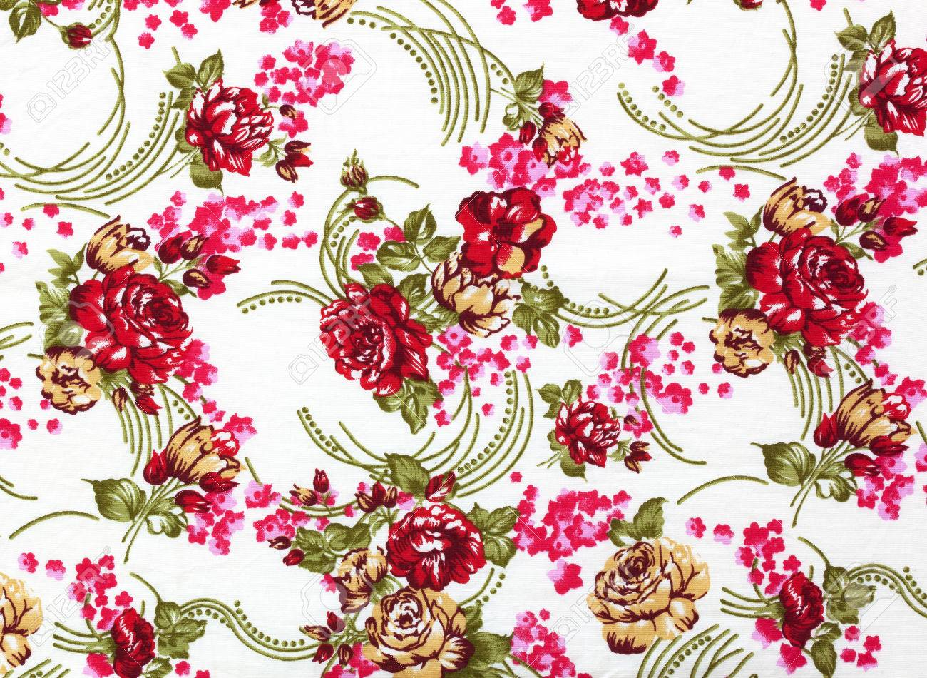 Chintz Flowers Wallpaper Texture Pattern Background Stock Photo