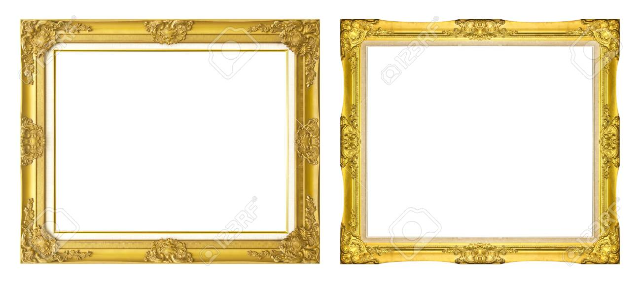 Antike Golden Auf Schwarzem Hintergrund Isoliert Rahmen / Gold ...