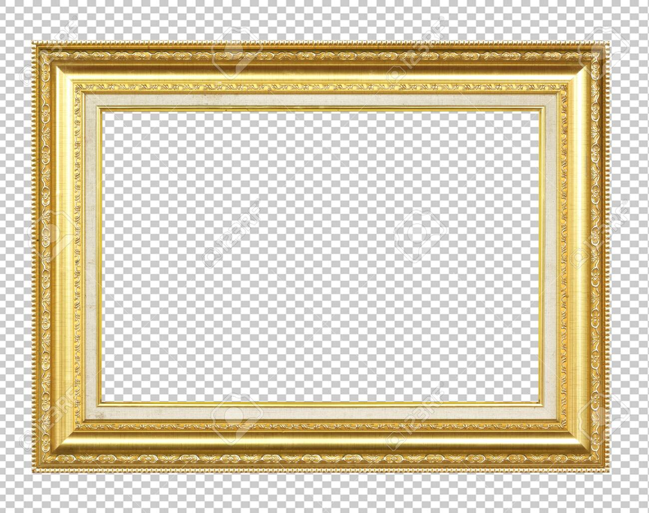 Golden wooden frame isolated on transparent background - 124388039