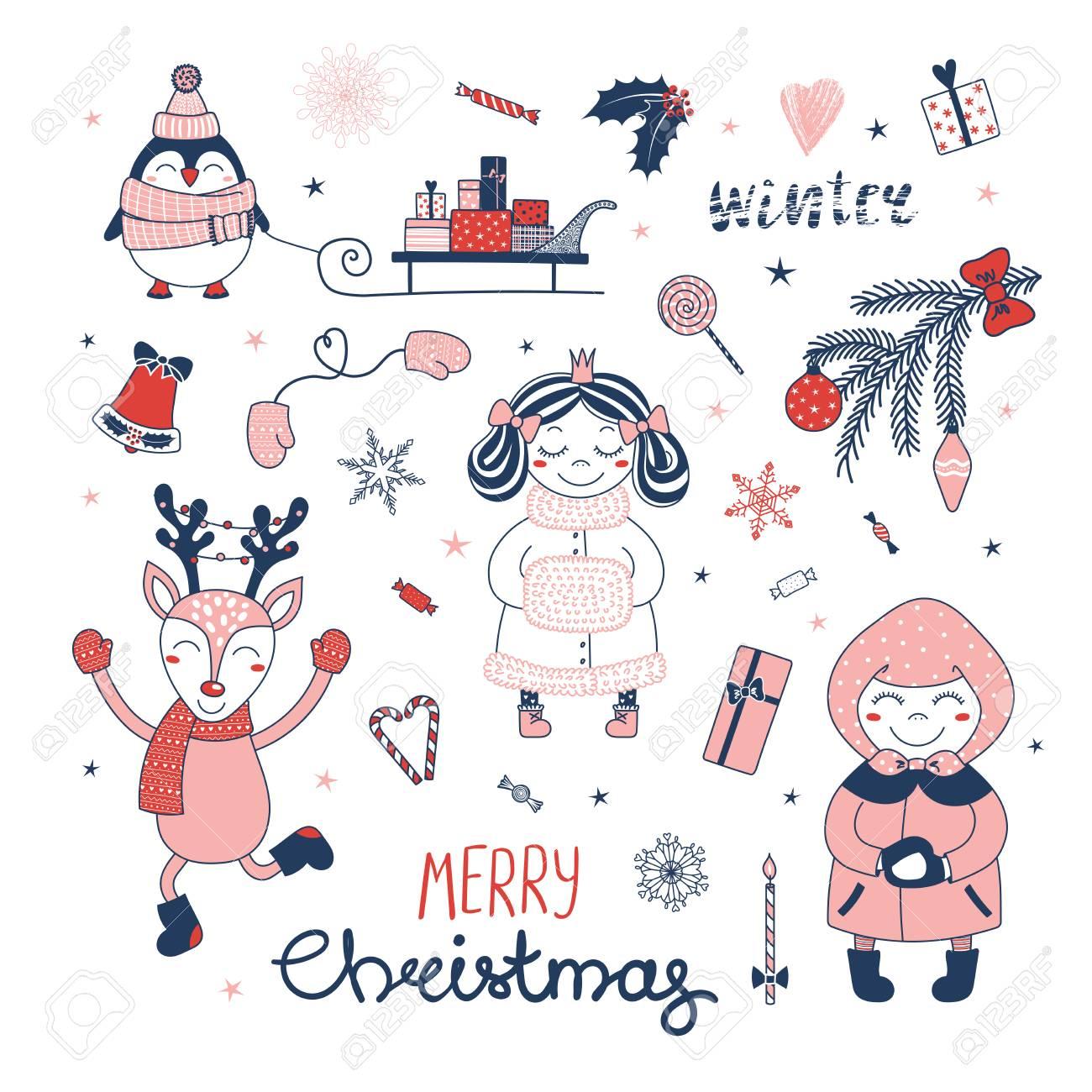 Dibujos De Navidad Hechos Por Ninos.Conjunto De Elementos De Diseno De Navidad Hechos A Mano Con Princesa De Dibujos Animados Lindo Pinguino Trineo Con Regalos Ciervos Nina