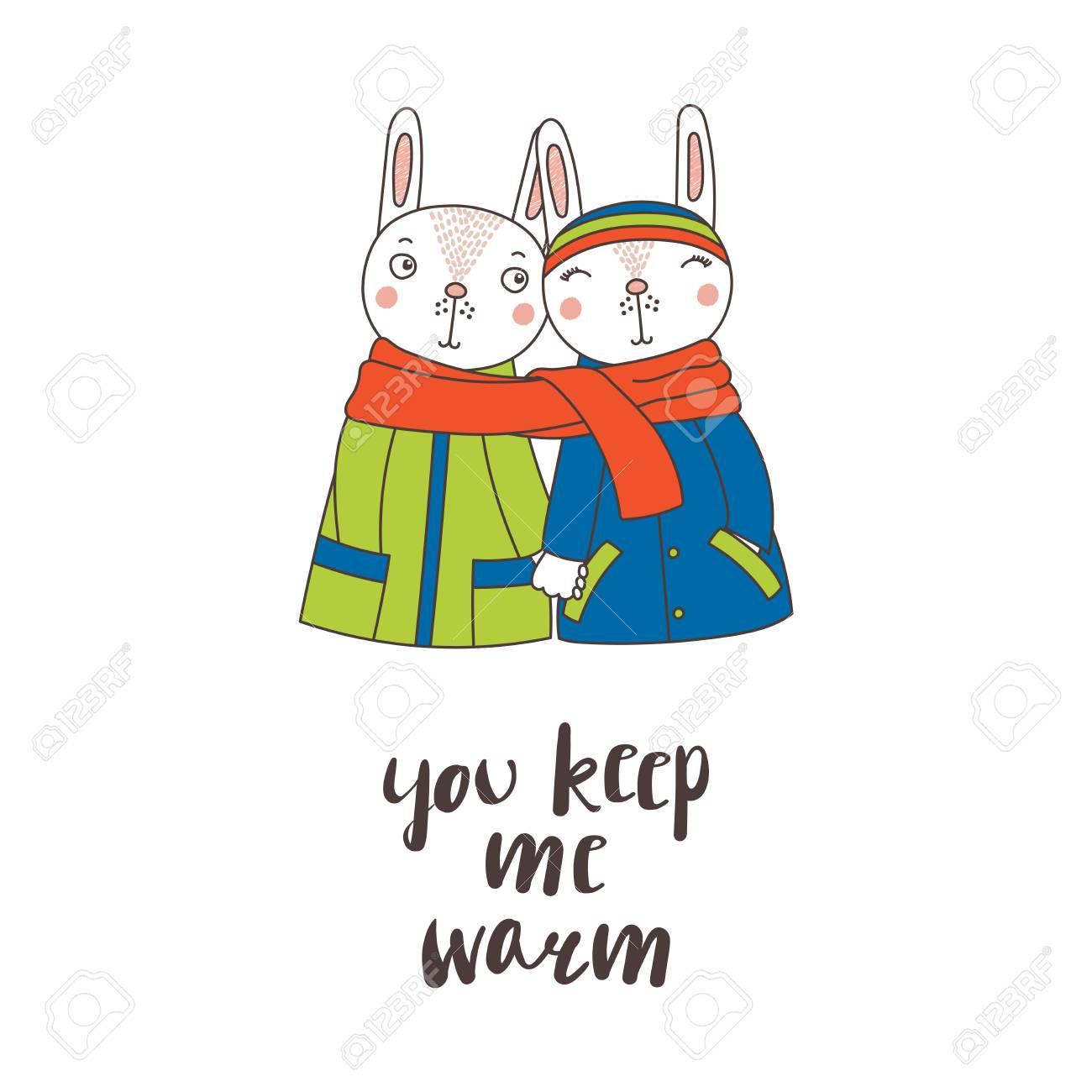 手を手を繋いでいるコートでかわいい面白いウサギのカップルの描画