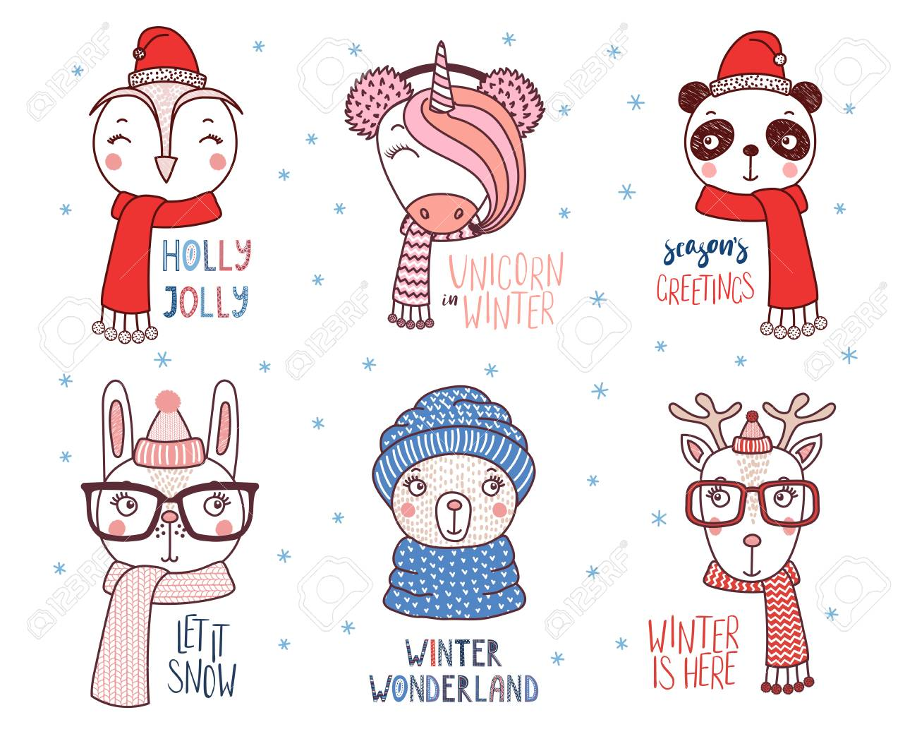 Set of hand drawn cute funny animals in different hats, glasses,..