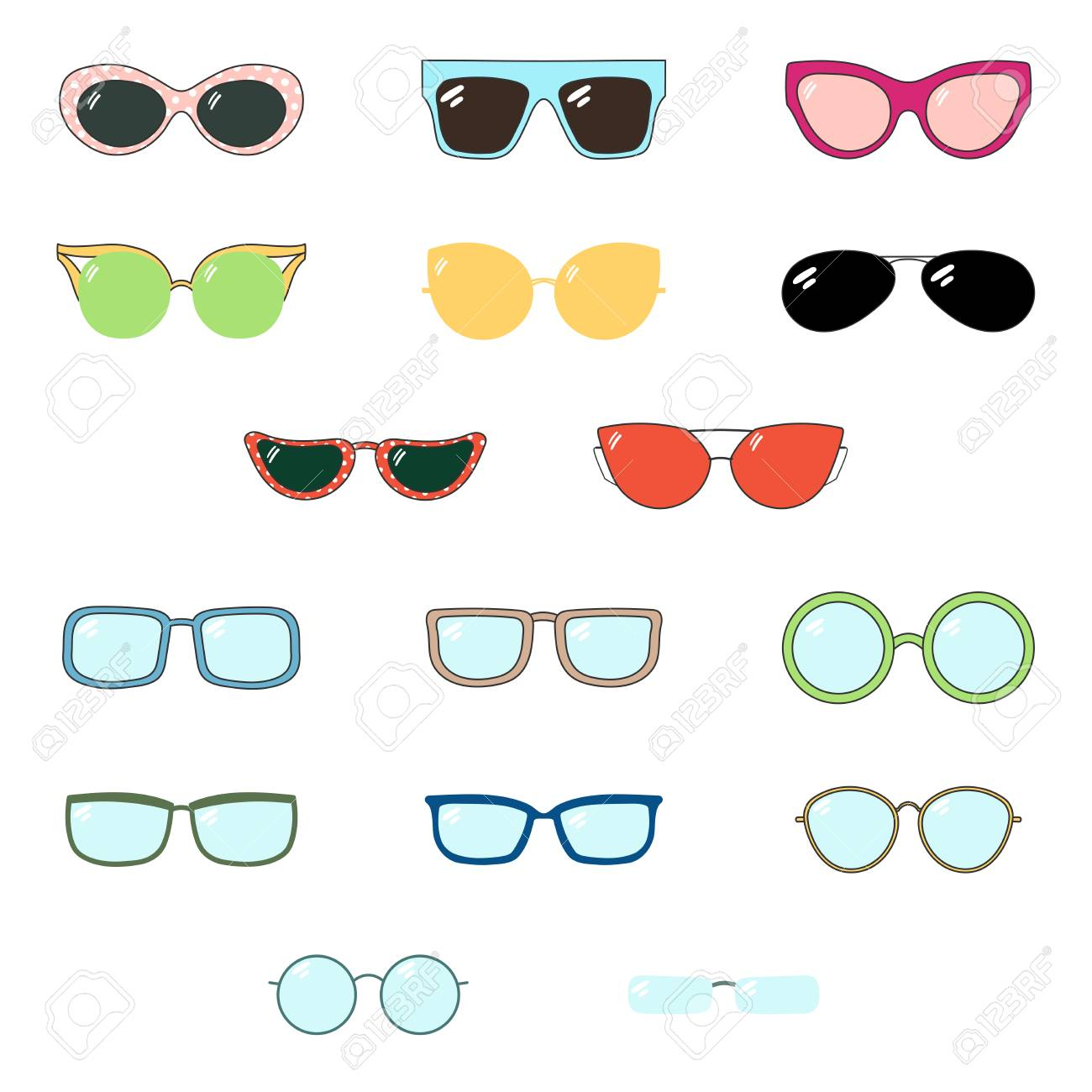 0c443b5eb77 Set of hand drawn cute cartoon glasses and sunglasses of various colours  and shapes. Isolated