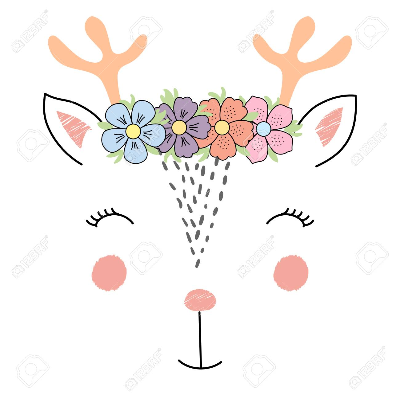 fcd736073c9 Hand drawn vector illustration of a funny reindeer girl face in a flower  chain. Isolated